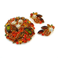 JULIANA Watermelon Brooch Earrings Set / DeLizza Elster Heliotrope Autumn Rhinestone Demi Parure / Vintage 1960s Jewelry