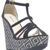 Diamond Weave Wedge Strappy Sandals   Wet Seal