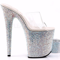 Bejeweled Iridescent Rhinestone Ankle Cuff Platform Shoes
