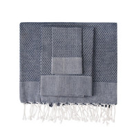 Navy Honeycomb Turkish Peshtemal Towel
