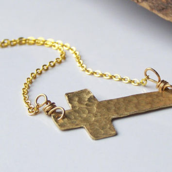Etsy, Etsy Jewelry, Brass, Hand Cut Cross, Hammered Cross, Sideways Cross Necklace, Gold Cross, Christian Necklace