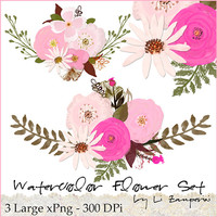 Digital PNG Clipart, Romantic Blooms Watercolor Clip Art/Rose/Individual PNG files/Hand Painted
