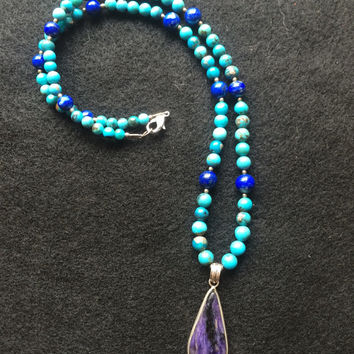 Turquoise and Lapis Lazuli Beaded Necklace with Sugilite Cabochon Pendant set in 925 Sterling Silver