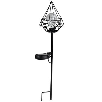 "25.5"" Black Diamond Solar Powered LED Outdoor Patio Metal Lantern with Garden Stake"