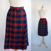 Vintage Plaid Kilt Style Wrap Skirt / Vintage Tartan Plaid Skirt / Plaid Skirt / Red and Blue Plaid