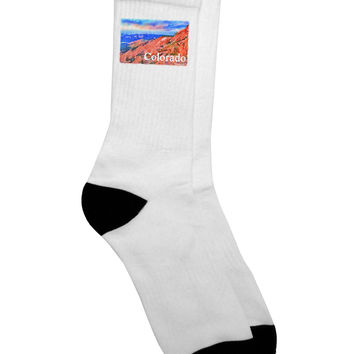 Colorado Mtn Sunset Soaked WaterColor Adult Crew Socks