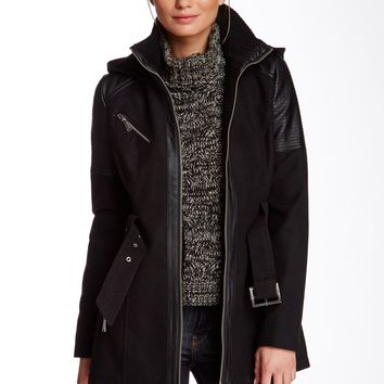BCBG | BCBGeneration Detachable Hood Front Zip Coat | Nordstrom Rack