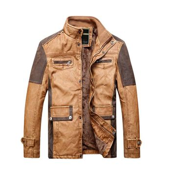 Stand Collar Men Faux Leather Jacket Slim Warm Lining