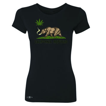 California Bear Weed Smoker Joint Women's T-shirt Fun Humor Tee