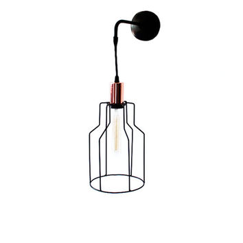 Industrial Cage Sconce Vintage Lighting Geometric Wall Lamp Pendant Light Hanging Lamp Minimalist Light Sconce Copper Lamp