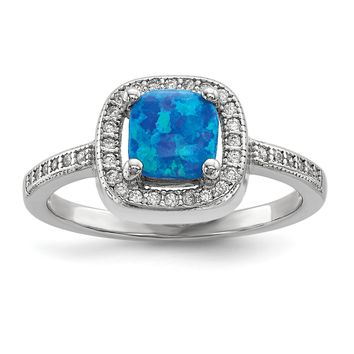 Sterling Silver Blue Cushion Square Created Opal and CZ Halo Ring
