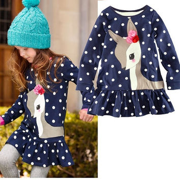 Baby Girls Toddler Kids Long Sleeve Lace Dress One-piece Deer Cotton Skirt 1-6Y = 1958320452