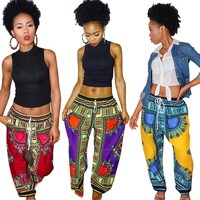 Dashiki Drawstring Waist Pants
