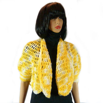 Vintage 60s Knit Cardigan, Handmade Yellow Trapeze Coat Handknit 1960's Retro Sweater Cape Sweater Trapeze Swing Cropped Sweater Puff Sleeve