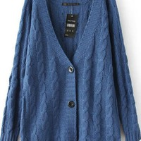 Blue Plain Buttons Long Sleeve Knit Cardigan