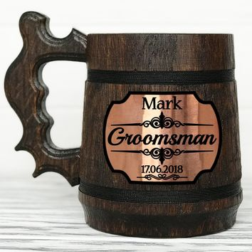 Personalized Groomsmen Gift Groomsman Mug Personalized Best Man Gift Wooden Beer Mug Personalized Wedding Gift Grooms Gift Groomsman Gift Custom Mug #2 / 0.6L / 22 ounces