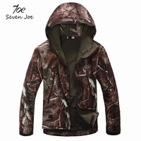 Seven Joe Tactical Camouflage Army Jacket Men Military Waterproof Soft Shell Outdoors Jackets Fleece Camo Hunt Clothes