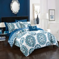 Chic Home 6-Piece Catalonia Super soft microfiber Large Printed Medallion REVERSIBLE with Geometric Printed Backing Twin Bed In a Bag Comforter Set Blue With sheet set - Walmart.com