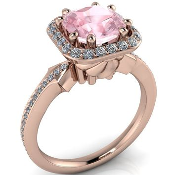 Portia 7mm Cushion Cut Morganite Center with Diamond Halo and Shoulders 14k Rose Gold Ring