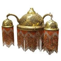 Pre-owned Vintage Moroccan Brass & Beaded Pendant Lamp
