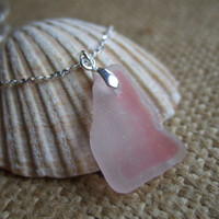 Scottish pink and white sea glass pendant on sterling bail, pink flash sea glass necklace sterling silver, breast cancer awareness, ribbon