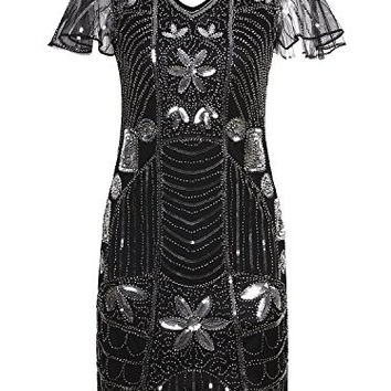 Vijiv Vintage 1920s Short Prom Deco Sequin Embellished Flapper Dress With Sleeve