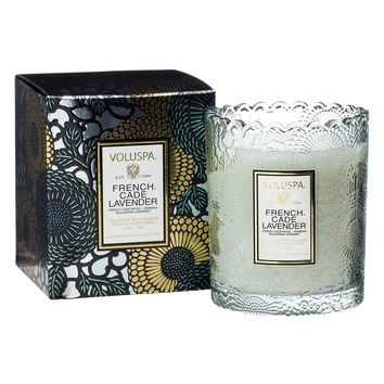 French Cade Lavender Scalloped Edge Candle