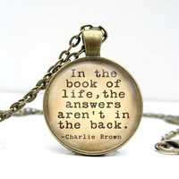 Charlie Brown Book Quote Necklace