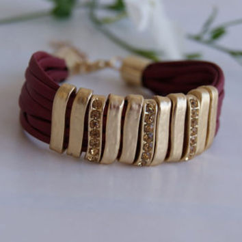 Red Garnet Multi Strand  Faux Leather Bracelet with Golden Pave Bar Sliders. Eco-Friendly Bracelet.
