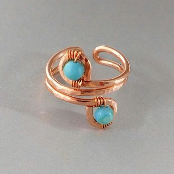 Petite Adjustable Copper Turquoise Jasper Wire Wrap Finger Toe Ring