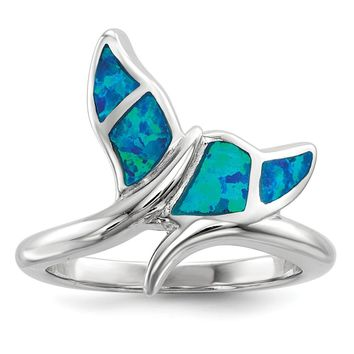 925 Sterling Silver Rhodium-plated Blue Inlay Created Opal Whale Tail Ring