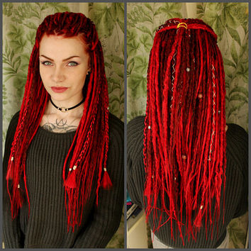 "Double Ended Synthetic Dreads ""Long Red Set"" by Afromod"