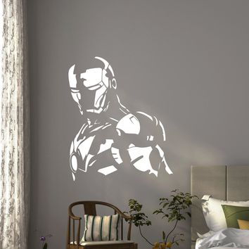 Iron Man Wall Vinyl Decal Avengers Artwork Stencil Boy Custom Superhero Sticker Comic Book Poster Home Kids Nursery Mural Art Deco Made in US