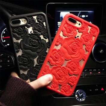 3D Rose Flower Hollow Silicon Phone Case