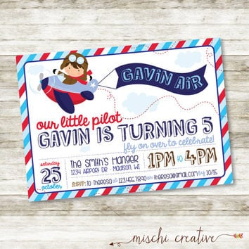 "Little Pilot and Airplane Boys Birthday Party DIY Printable Invitation, 5"" x 7"""