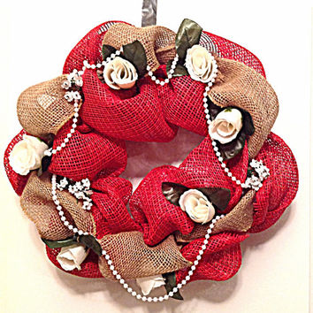 Burlap wreath, red deco mesh, white rose wreath, wedding decor, cottage chic, home decor, wall hanging, front door decor, front door hanger