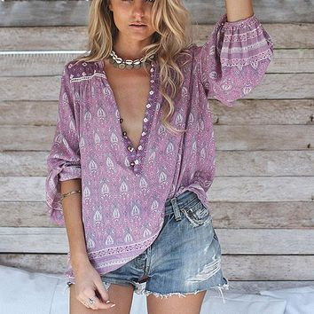 Khale Yose Spring Boho Long Sleeve Blouse Hippie Chic Women Blouses Pullover Floral Print Shirt Patchwork Gypsy Ethnic Style Top