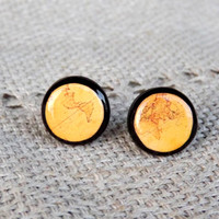Antique World Map stud earrings, Whole Wide World, Old map, Orange map, World map stud earrings, World map jewelry, Map stud, Christmas gift