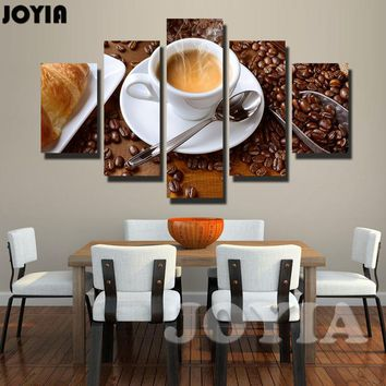 5 Piece Canvas Art Steaming Coffee Cup Pictures On The Wall for The Kitchen Food Quote Print Painting Dining Hall Decor No Frame