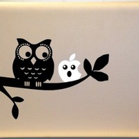 Owl on Branch Oh Apple Macbook Vinyl Decal Smiley Face for Mac Logo | MakeItMineDesigns - Techcraft on ArtFire
