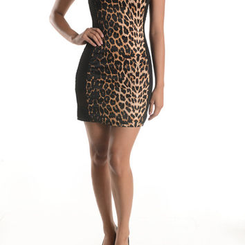 (ane) Net on side leopard print short dress