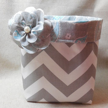 Gorgeous Gray Chevron Fabric Basket With Gray and Blue Paisley Liner and Detachable Fabric Flower Pin
