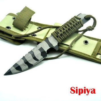 Fixed Blade Hunting/Survival/Camping Knife Stainless Steel Handle w/ Sheath