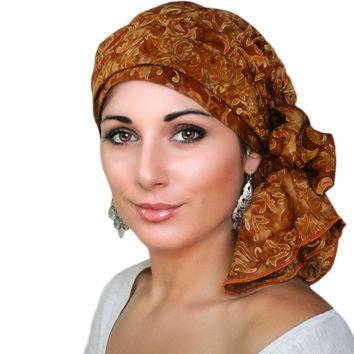 Rust Floral Turban, Head Wrap, Alopecia Scarf, Chemo Hat & Scarf Set