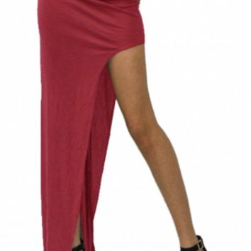 Sassy Burgundy Asymmetrical Maxi Skirt