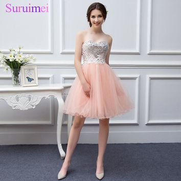 Real Picture Stuning Beaded Short Strapless Dress Color Tulle Coral Prom Dress Peach Prom Gown Cheap Flower Short Prom Dress