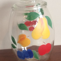 Gay Fad Bartlett Collins Cookie Jar Clear Glass Hand Painted Fruit Container Mid Century Cherry Pear Apple Plum