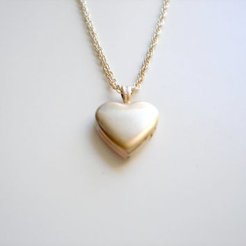 Vintage 14k Yellow Gold Filled Sweet Heart Locket Necklace by Emeline Darling