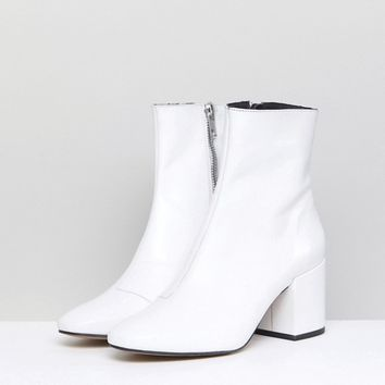 ASOS ROSANA Leather Block Heeled Boots at asos.com