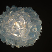 Rock Chunk Globe hanging Lamp, ICE BLUE